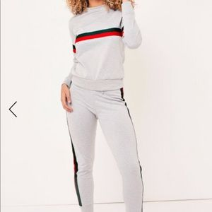 Jade Gray Side Stripe Loungewear Tracksuit Sweats